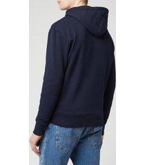 maison kitsuné men's tricolor fox patch hoodie - navy - l