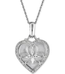 """diamond floral heart 18"""" pendant necklace (1/10 ct. t.w.) in sterling silver"""