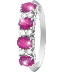 anello in oro bianco, rubini 1,35 ct e diamanti 0,12 ct per donna