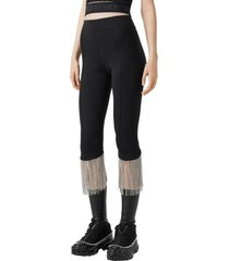 women's burberry charente crystal fringe crop leggings