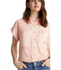 blusa de crepé con diseño rosa pálido esprit