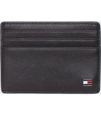tommy hilfiger men's leather flag card case black -