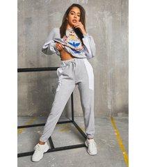 'nashville' colour block batwing sweater & joggers, grey