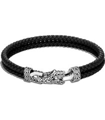 'asli classic chain' sterling silver leather double bracelet