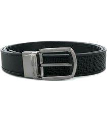 ermenegildo zegna pelletessuta™ textured belt - black
