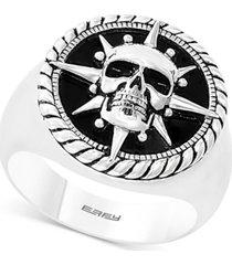 effy men's onyx (16mm) skull ring in sterling silver