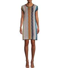 multicolor grid shift dress