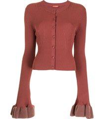 altuzarra ribbed-knit button-fastening cardigan - red