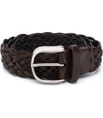 brunello cucinelli woven belt - brown