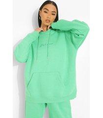 oversized geborduurde woman hoodie, green