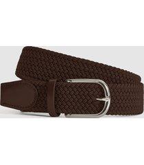 reiss elmont - woven belt in brown, mens, size 36