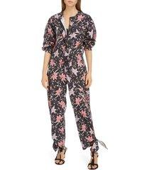 women's isabel floral print cotton jumpsuit, size 8 us / 40 fr - blue