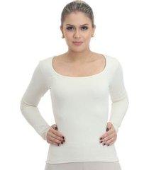 blusa ficalinda manga longa palha decote redondo feminina