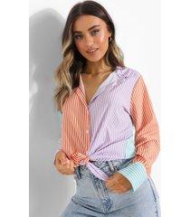 pastel gestreepte colour block blouse, lilac