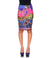 white mark rainbow python pencil skirt