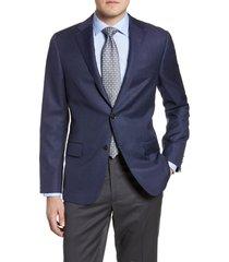 men's hickey freeman classic fit solid wool blazer, size 42 l - blue