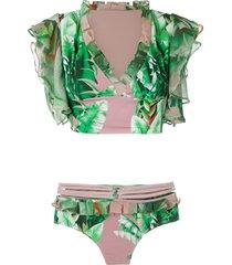 amir slama printed crop top bikini set - green