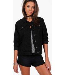 tall oversized denim boyfriend jacket, black