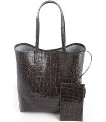 royce new york croc-embossed tall tote bag wristlet