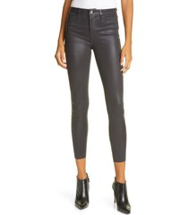 women's l'agence margot coated crop skinny jeans, size 32 - grey