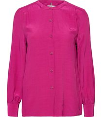 button down relaxed blouse ls blus långärmad rosa tommy hilfiger