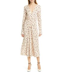 women's rotate number 7 pleated long sleeve midi dress, size x-small - ivory