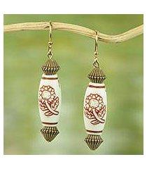 beaded dangle earrings, 'blessed sunflowers' (ghana)
