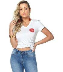 t-shirt daniela cristina gola v 08 602dc10314 branco pp - feminino