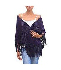 suede shawl, 'keraton elegance in purple' (indonesia)