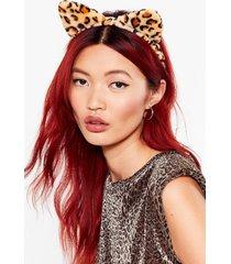 womens purr evil leopard cat ears headband - natural