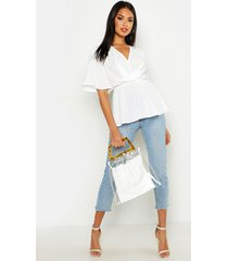 angel sleeve peplum blouse, ivory