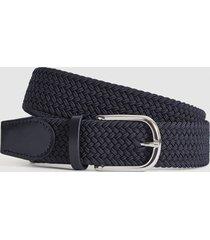 reiss elmont - woven belt in navy, mens, size 36