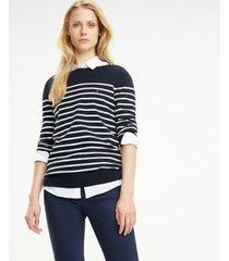 tommy hilfiger women's maritime stripe sweater midnight / classic white - xs