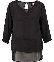 catwalk junkie zwarte polyester blouse 3/4 mouw