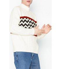 topman cs crm zipzag panel tröjor cream