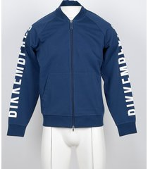 bikkembergs designer sweatshirts, blue cotton men's sweatshirt w/front zip