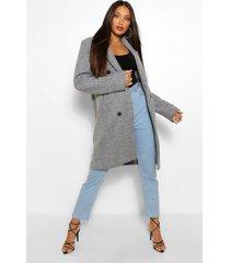 tall nepwollen jas met dubbele knopen, grijs