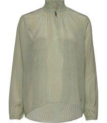 gallia silk blouse blus långärmad grön mos mosh