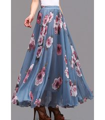 floral chiffon maxi skirt women blue maxi silk chiffon skirt wedding party skirt
