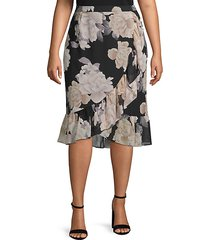 plus ruffled floral skirt