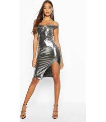 off the shoulder twist midi dress, silver