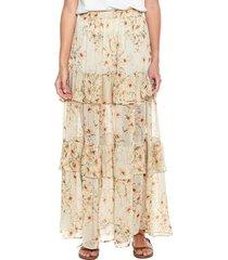 maxi falda en chifón con estampado floral y boleros color blue