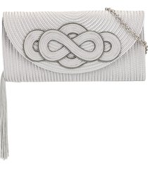 shanghai tang braid knot clutch bag - silver