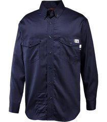 wolverine men's fr twill long sleeve shirt navy, size xl