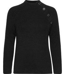asymmetrical button mockneck raglan sweater stickad tröja svart gap