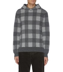 buffalo check boiled cashmere hoodie