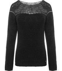 sweter ze srebrną nitką czarny