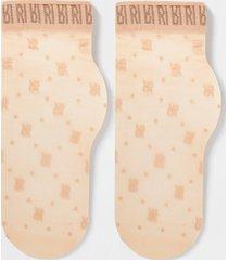 river island womens beige 'rir' logo mesh ankle socks