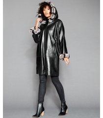 the fur vault rabbit-fur-trim hooded leather coat