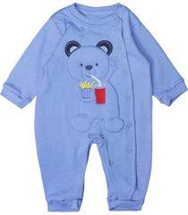 macacã£o longo feito em suedine bordado urso fritas royal curioso azul royal - azul - menino - dafiti